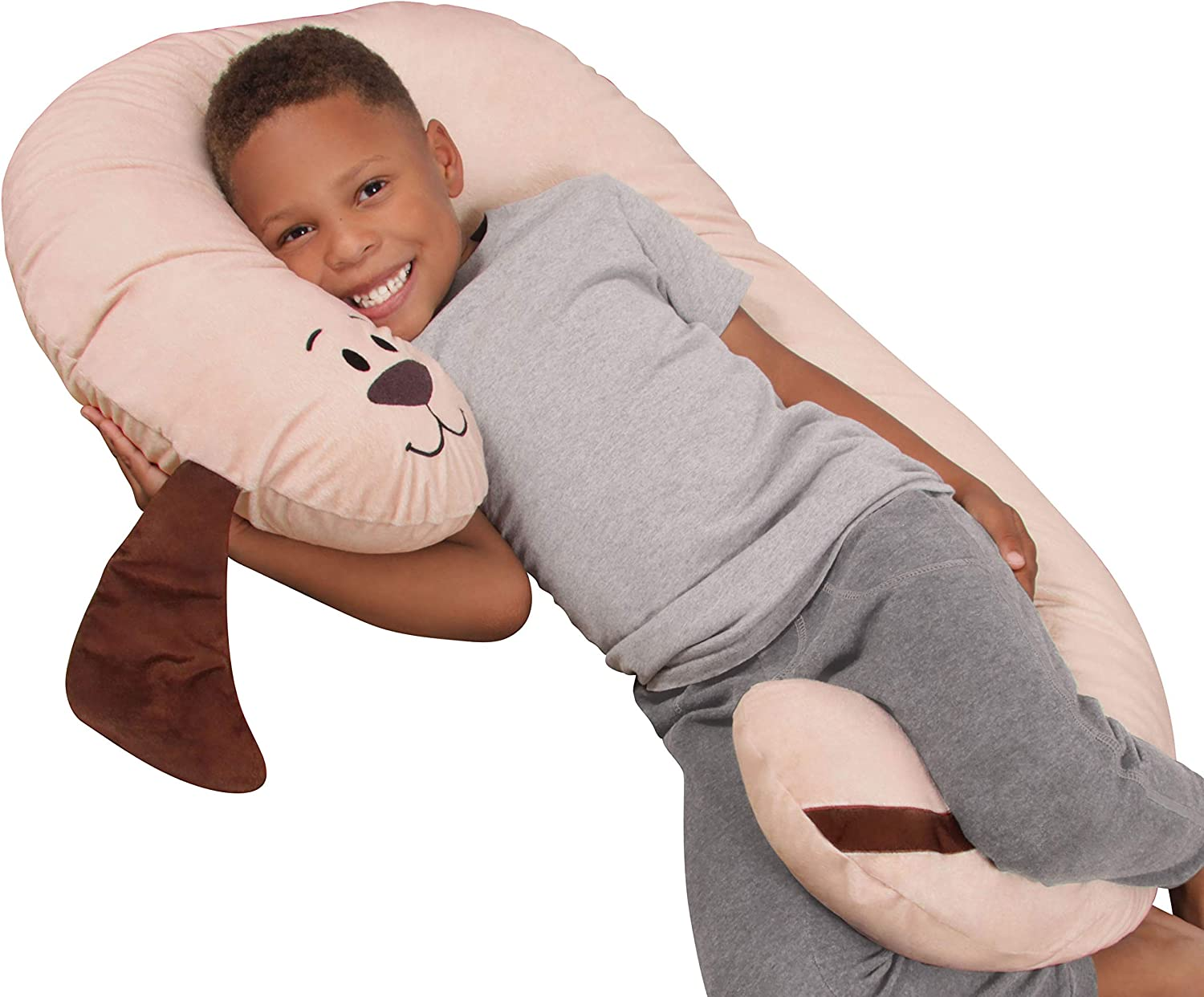 Leachco Snoogle Jr. - Luxuriously Soft Plush Puppy with Zippered Removable Cover – The Snuggle, Cuddle, Animal Body Pillow for Kids