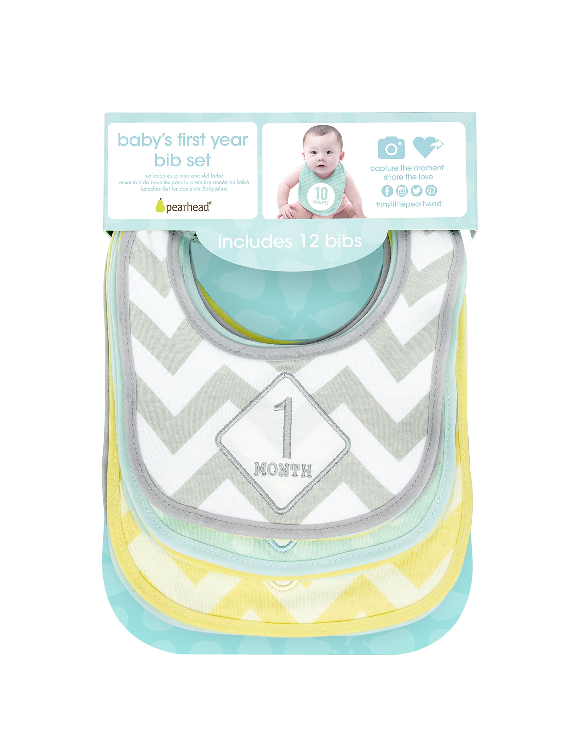Pearhead Baby's First Year Monthly Milestone Bib Set, Multi