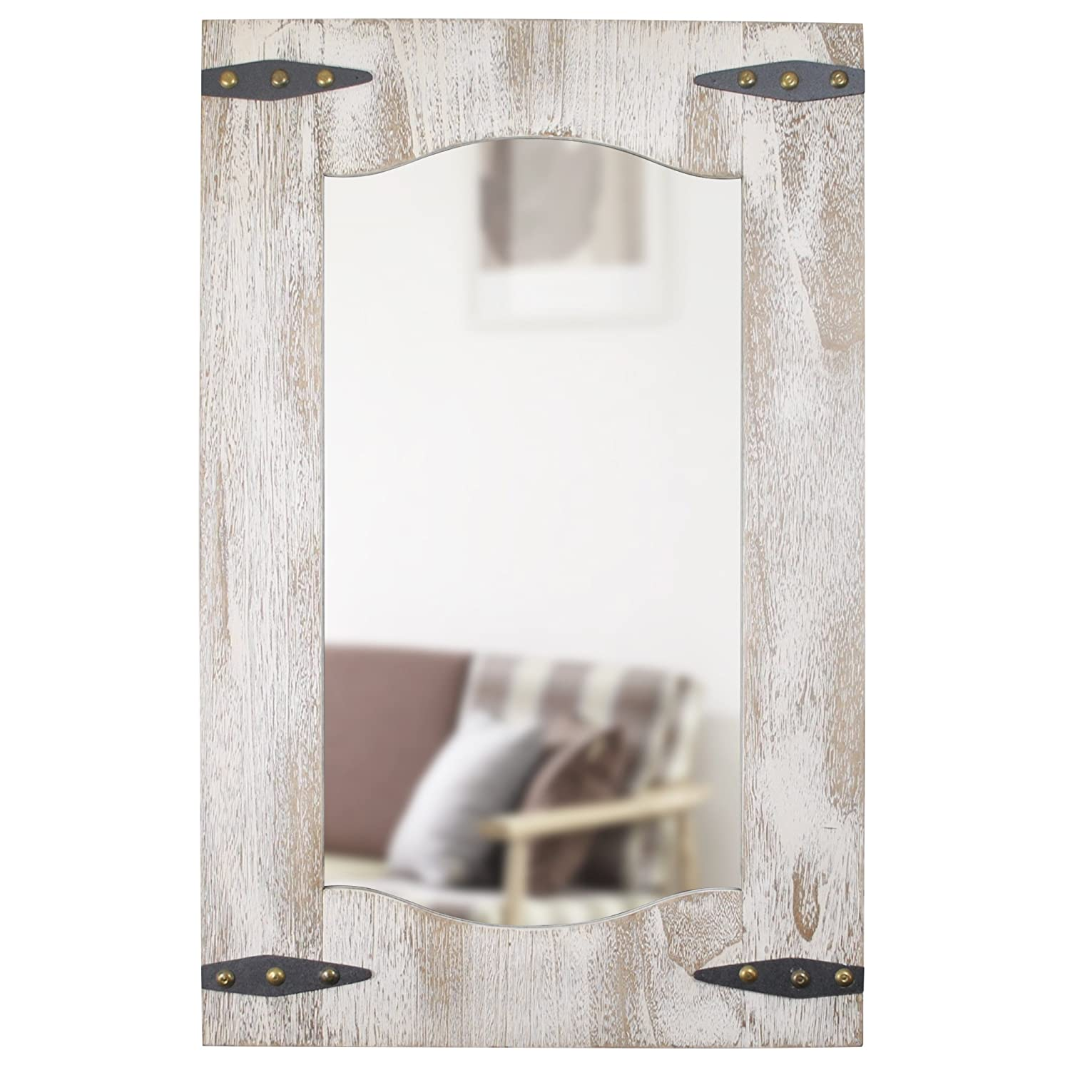 FirsTime 70000 Barn Door Mirror Wall Clock Tan/Ivory Wood