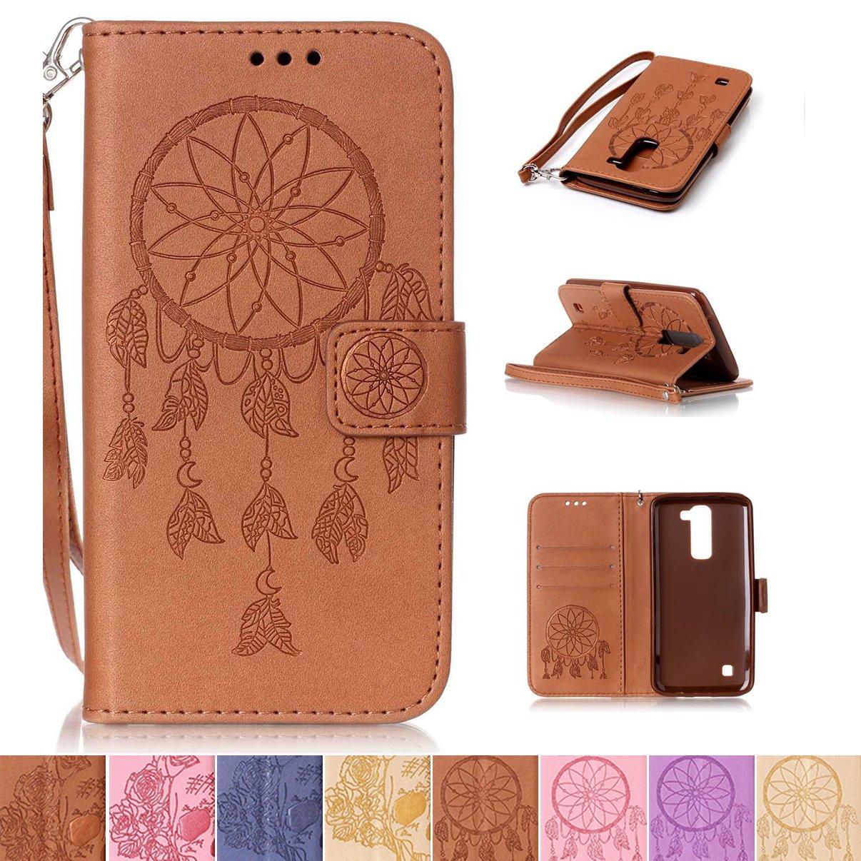 LG K7 / K8 Case, LG Tribute 5 Case, LG Escape 3 Case, Firefish [Kickstand] [Card/Cash Slots] Wallet Folio [Magnetic Closure] Case with Wrist Strap for LG K7/ K8/ Tribute 5/ Escape 3- Net-B