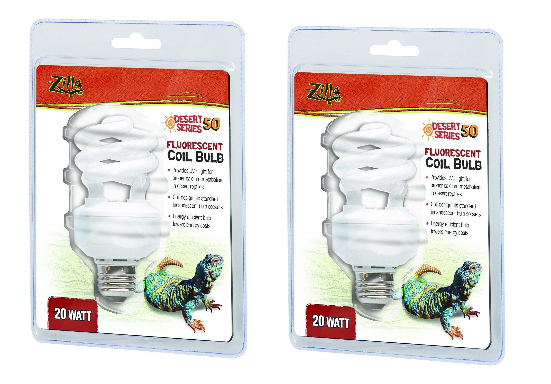 Zilla UVB Fluorescent Desert Coil Bulb, 20 Watt (2 Pack)