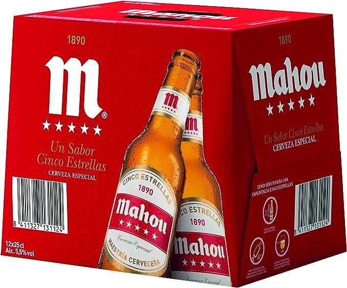Mahou 5 Estrellas Cerveza Dorada Lager, 5.5% de Volumen de Alcohol - Pack de 12 x 25 cl: Amazon.es: Alimentación y bebidas