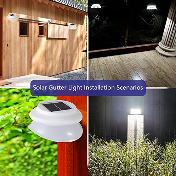 MOLEBIT Solar Gutter Lights Super Bright 9 LED Waterproof Wireless Security Lights Fence Light for Outdoor Garden Wall Yard Deck White 1 Pack