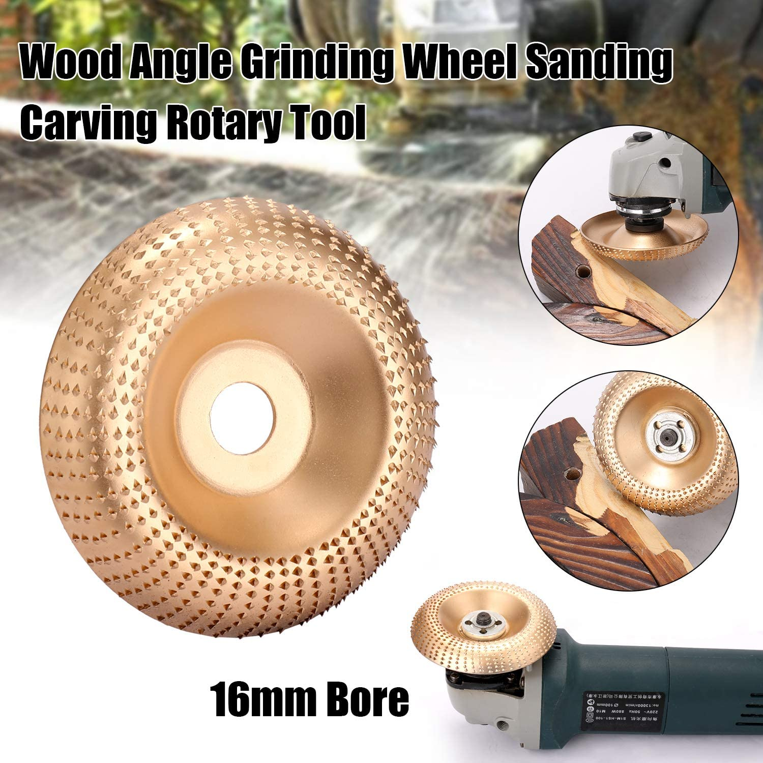 Zitainn Angle Grinding Wheel,Wood Angle Grinding Wheel Sanding Carving Rotary Tool Abrasive Disc for Angle Grinder Tungsten Carbide Coating Bore Shaping 16mm Bore