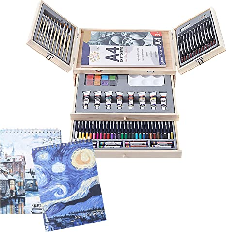 Conda 93 Piece Professional Art Set with 3 x 50 Page Drawing Pad Deluxe Art Sett with Drawing Tools for Beginners Artists,Kids