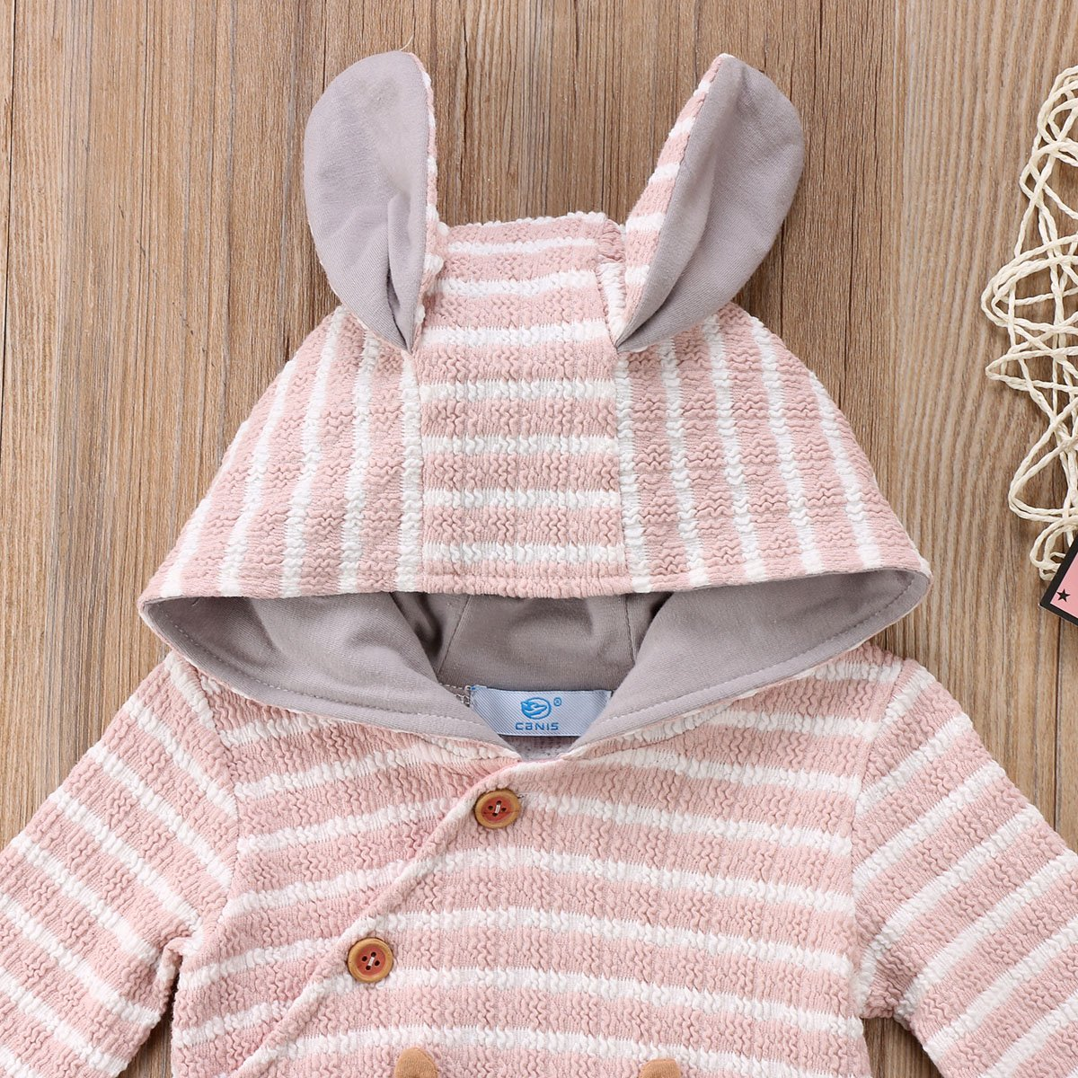 Baby Boys Girls Fox Striped Ear Hoodie Romper Jumpsuit Outfit Long Sleeve Buttons Creepers Clothes