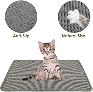 SlowTon Cat Scratcher Mat, Natural Sisal Woven Rope Scratching Pad for Cat Grinding Claws & Protecting Carpet Rug Furniture, Durable Anti-Slip Floor Cat Playing Sleeping Scratch Toy (15.7 x23.6 in) (Grey)