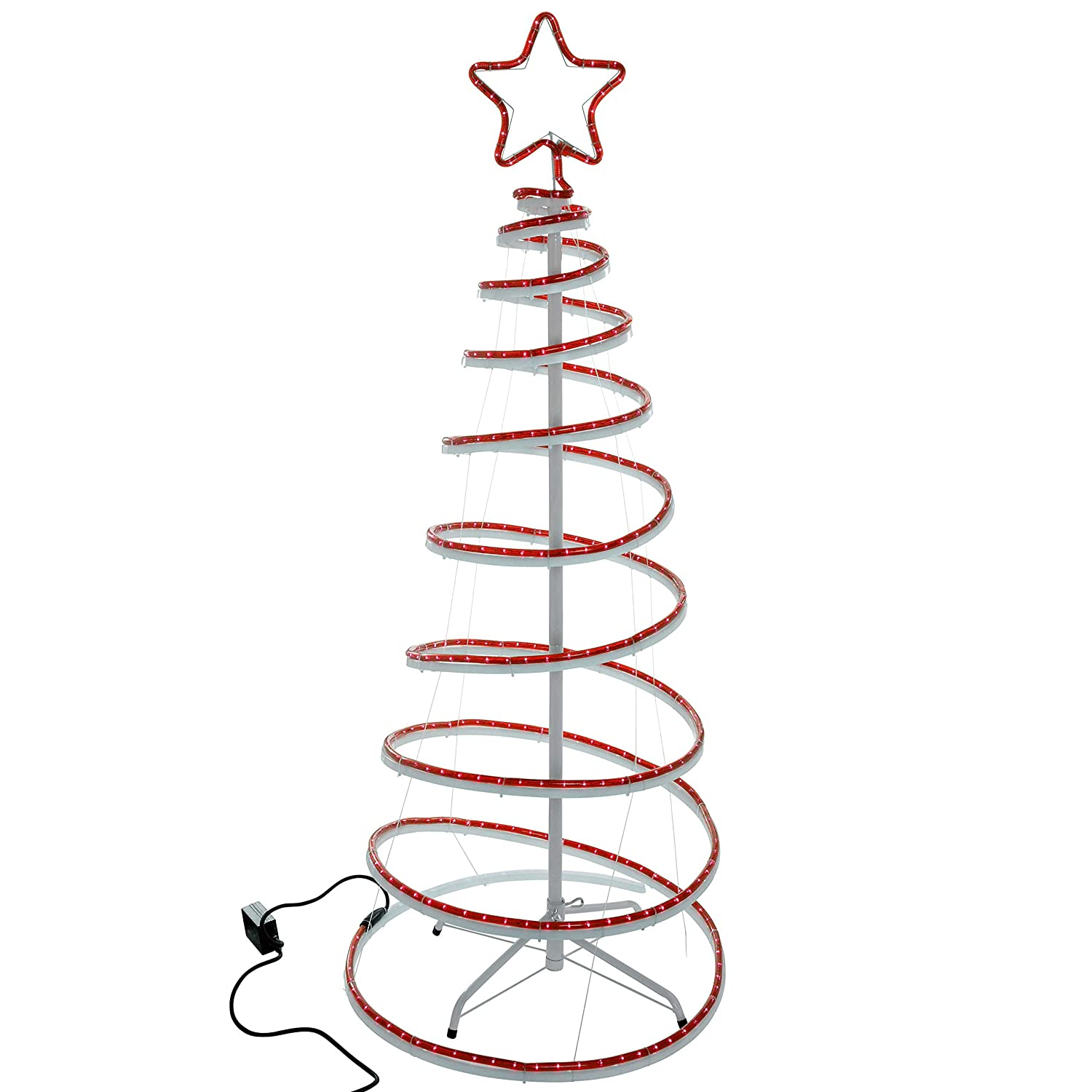 WeRChristmas Flashing 3D Spiral Christmas Tree Rope Light Silhouette ...
