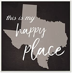 The Stupell Home Décor Collection This is My Happy Place Texas Wall Plaque Art, 12 x 12