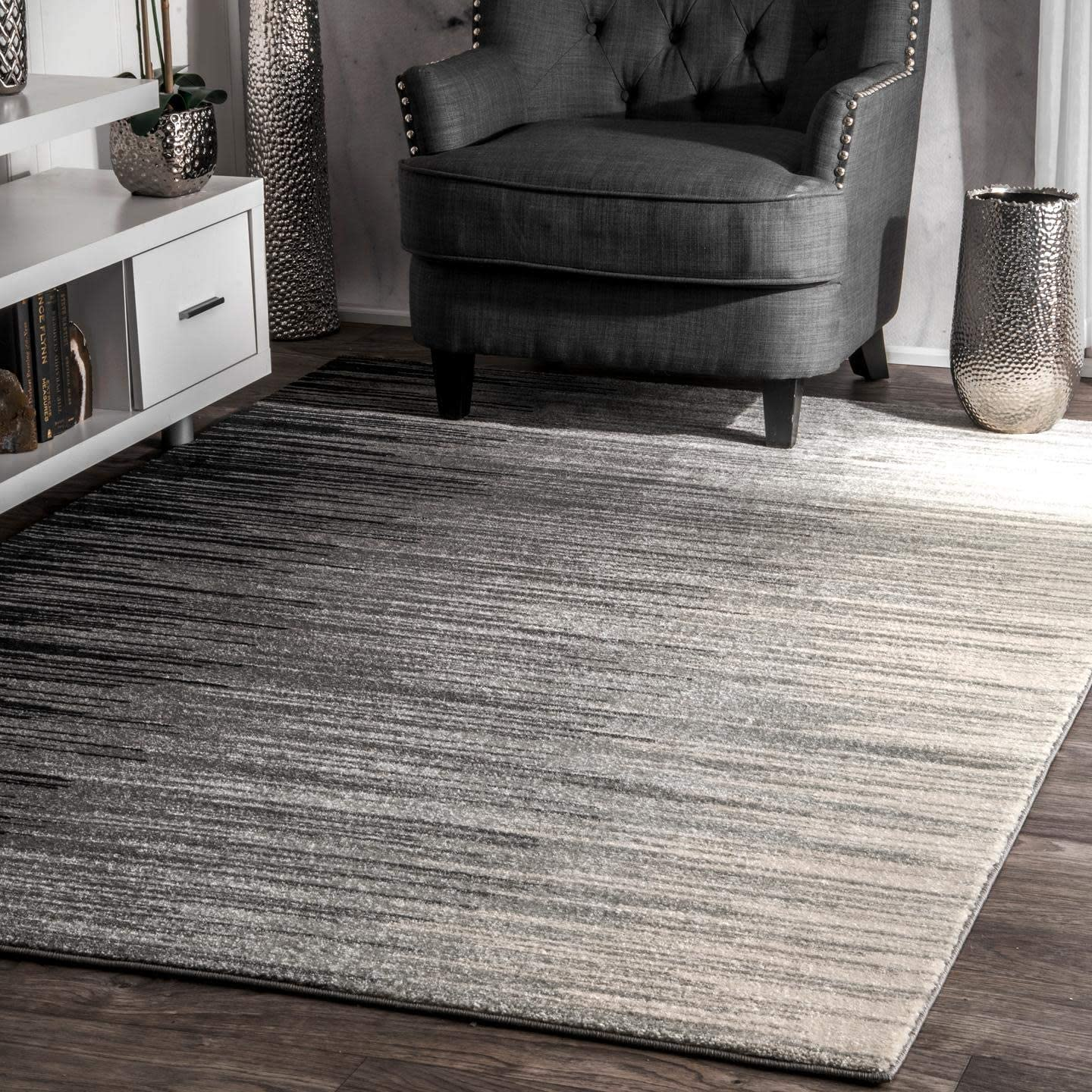 Amazon Com Nuloom Lexie Ombre Area Rug 8 X 10 Black Home Kitchen