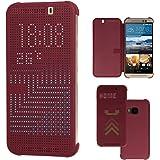 TECHGEAR® HTC One M9 DOT MATRIX VIEW Flip Case Cover With Auto Sleep Wake Function (PURPLE)