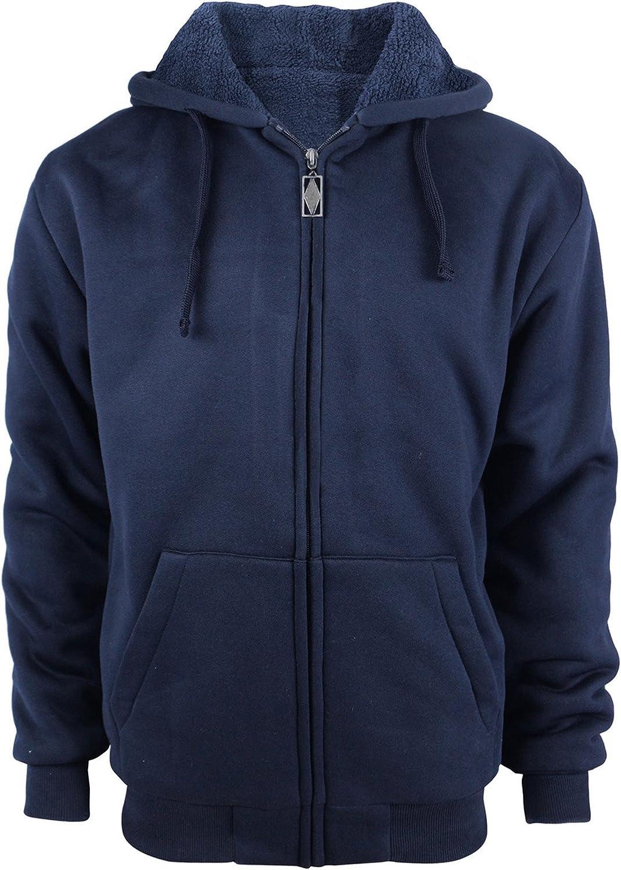 Kam Mens Plain Hoodies Fleece Jacket Sweatshirt Zipper Zip Up Long Sleeve Hooded