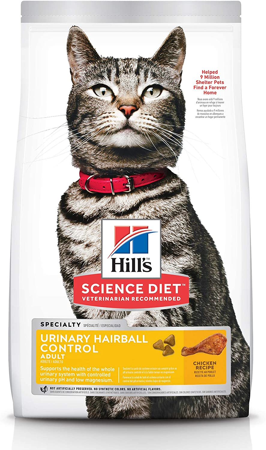 Hill's Science Diet Dry Cat Food, Adult, Urinary & Hairball Control, Chicken Recipe, 15.5 Lb Bag : Pet Supplies