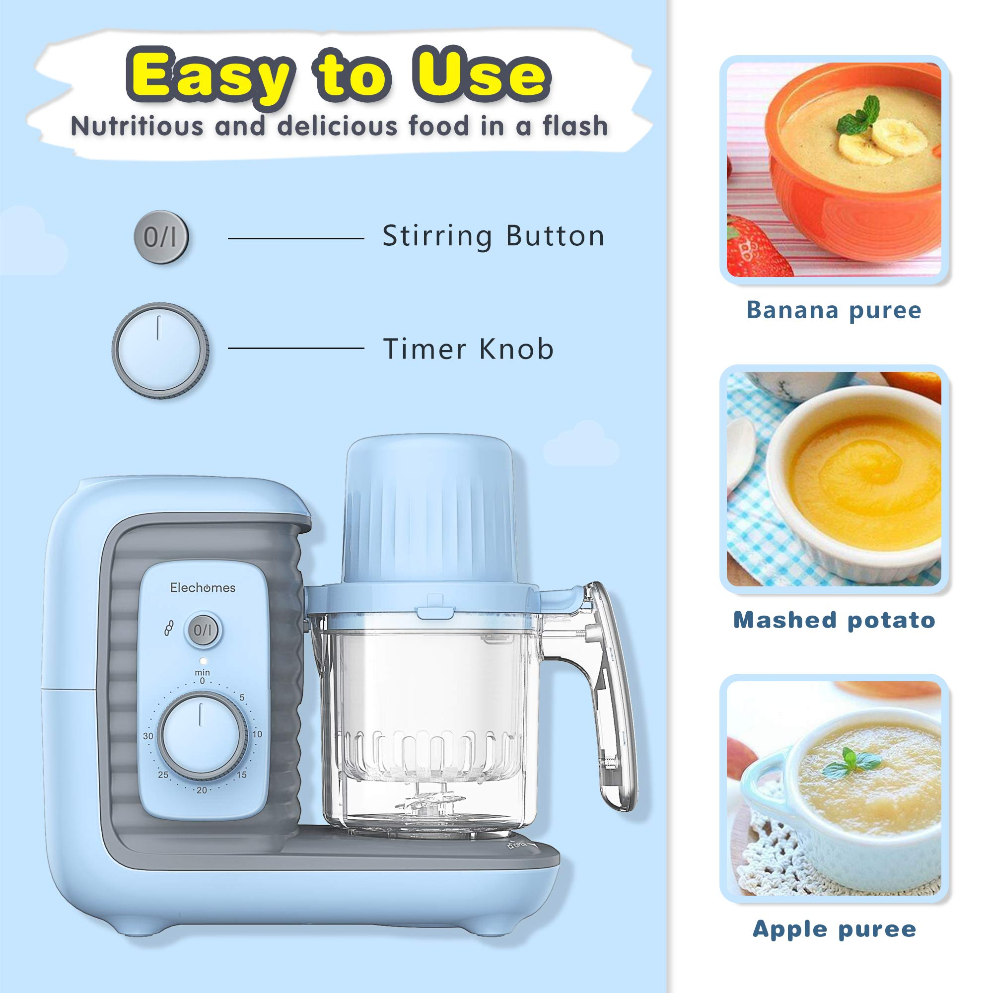 Elechomes Baby Food Maker Processor, Double Steam Basket Cooker with Timer, Blender, Steamer for Baby Infants Toddlers Food by Elechomes (Image #2)