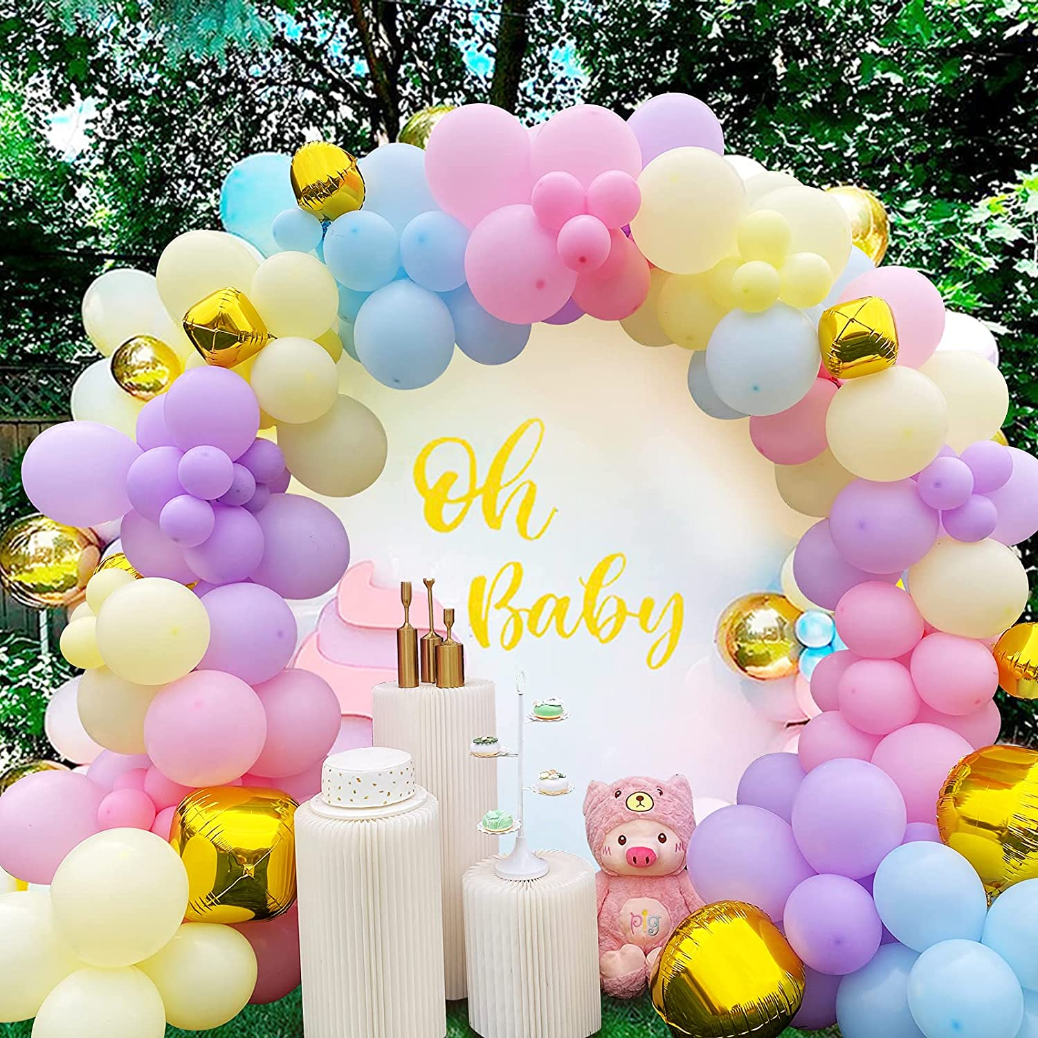 122pcs Assorted Latex Balloons Arch Garland Kit Happy Birthday Decorations Blue Gold Pink Colors Party Decor Supplies for Wedding Baby