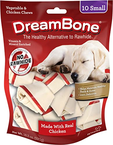 Dreambone Vegetable Chicken Dog Chews, Rawhide Free, Small, 10-Count