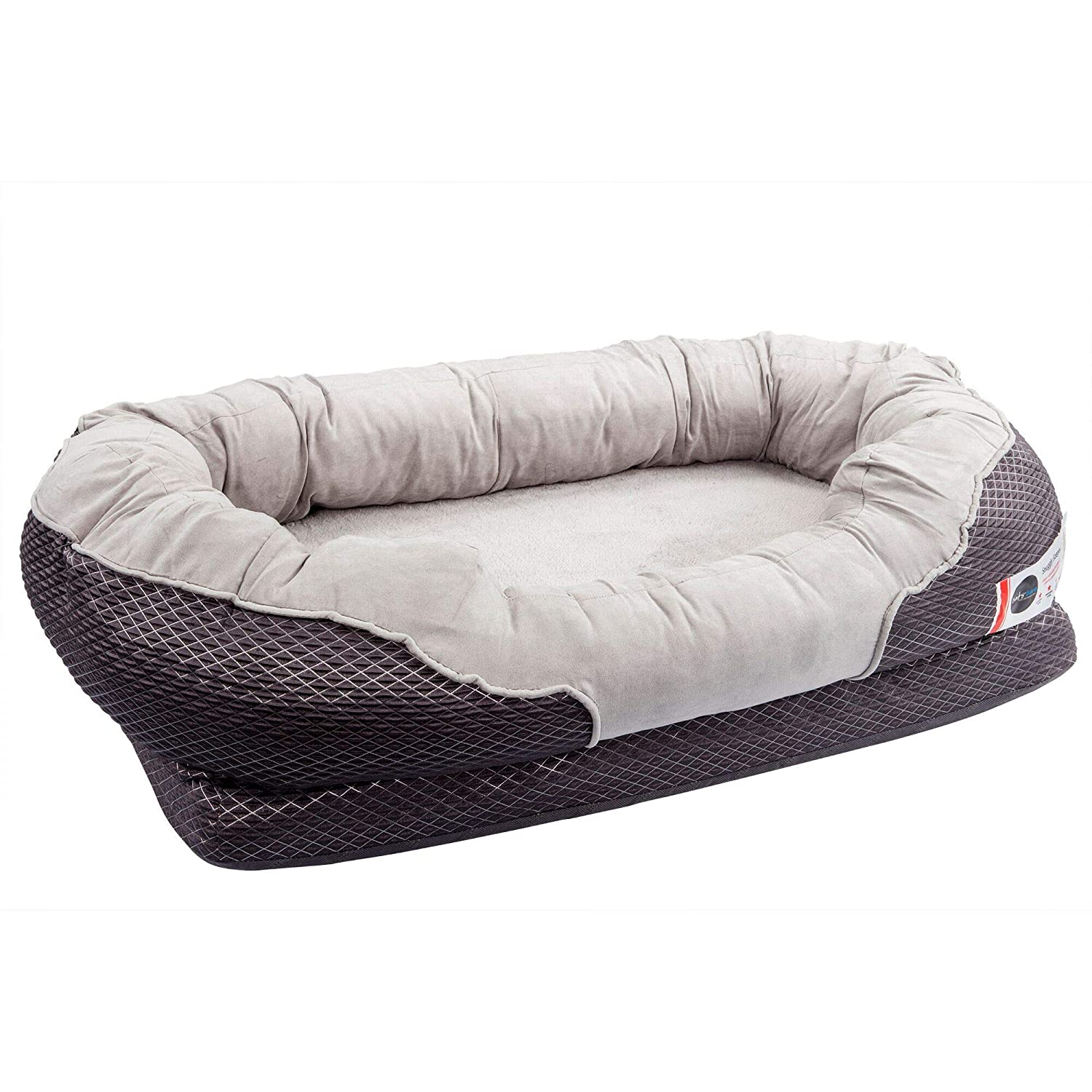 BarksBar Gray Orthopedic Dog Bed – Snuggly Sleeper – with Grooved Orthopedic Foam, Extra Comfy Cotton-Padded Rim Cushion and Nonslip Bottom