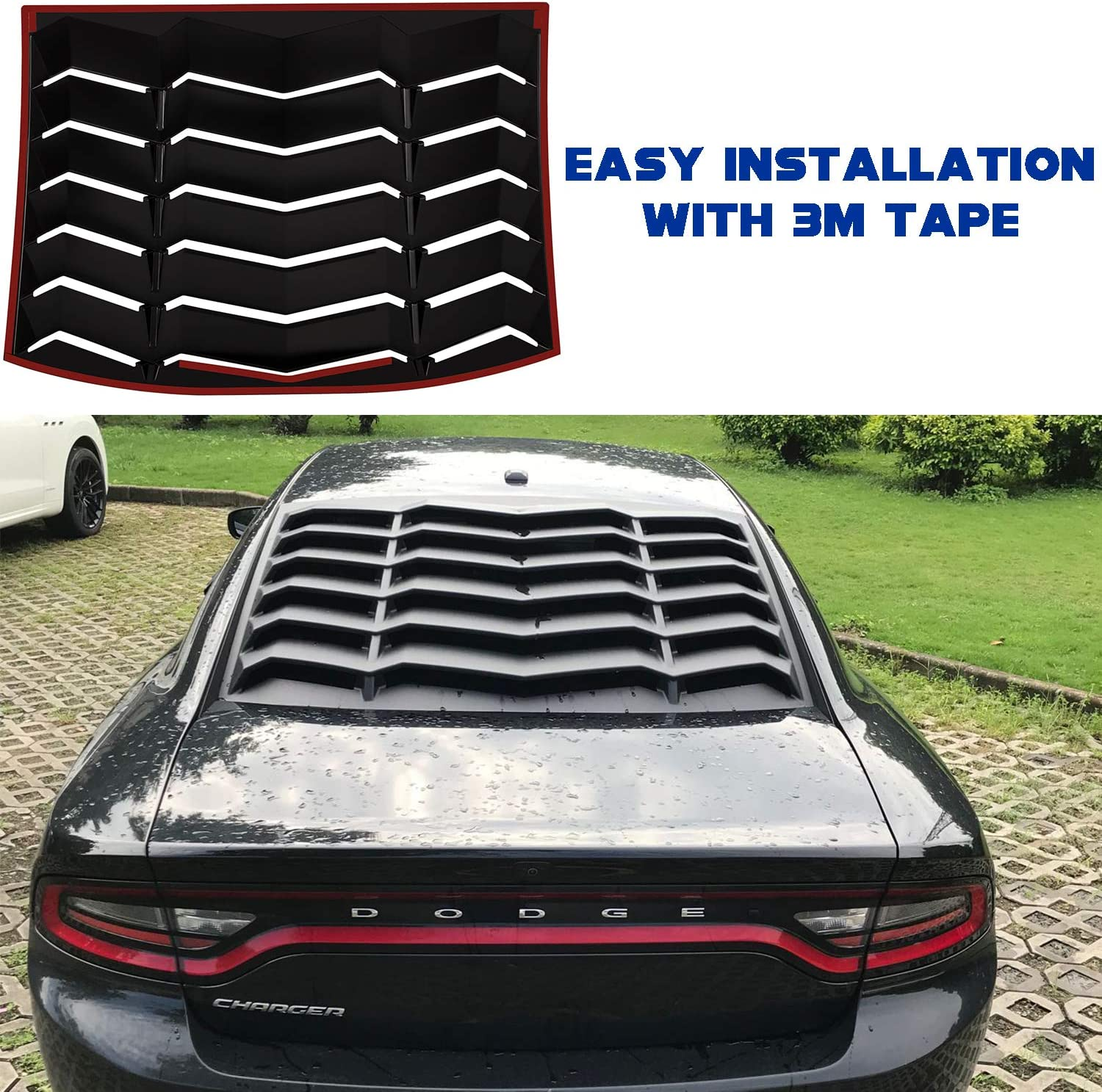 Rear and Side Window Louver for Dodge Charger 2011-2020 Matte Black ABS Windshield Sun Shade Cover in GT Lambo Style