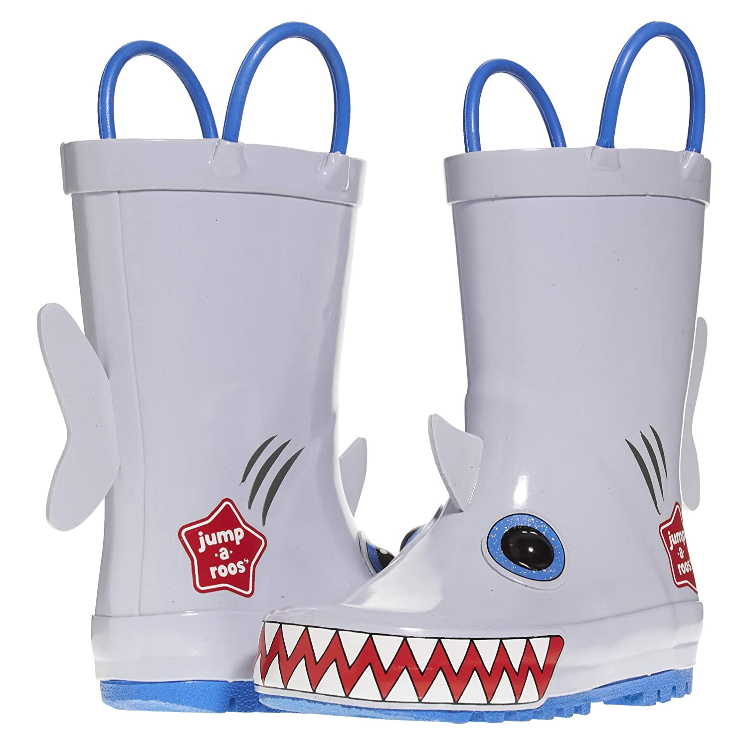 Jump A Roos Sharky Tall Boys Rain Boots Cute Galoshes for Kids in Many Sizes