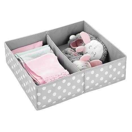 MetroDecor mDesign Caja de almacenaje para Habitaciones Infantiles o baños - Cestas organizadoras en Fibra sintética de Lunares - Organizadores de armarios ...