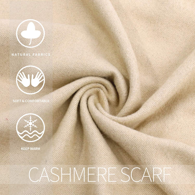 Luxuriously Soft Large Winter Scarves GIft Box Women Stylish Warm Blanket Scarf Solid Oversized Pashmina Cashmere Shawl Wrap Scarves 75''x25.5'' (Beige/Grey, Box) by Arctic Penguin (Image #4)