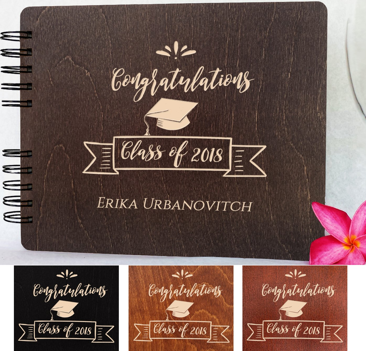Graduation Wood Guest Book Made in USA (Customize Personalize Wood Engraving) Rustic Grad Gifts Photo Album Party Supplies Decorations Polaroid Photo Guest Book Congratulation Class of