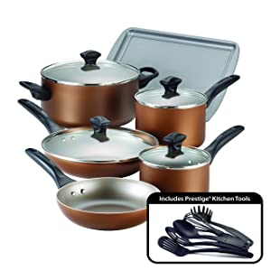 Farberware Dishwasher Safe Nonstick Aluminum 15-Piece Cookware Set, Copper