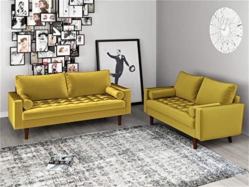 Container Furniture Direct Mid Century Modern Velvet Upholstered Button Tufted Living Room Sofa, 2 Piece Set, Goldenrod