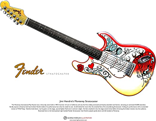 George Morgan Illustration Art Cartel de Jimi Hendrixs Fender ...