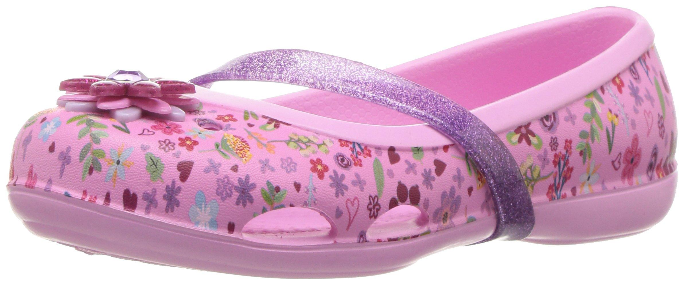Crocs Kids' Lina Graphic GS Flat, Carnation/Iris, 9 M US Toddler