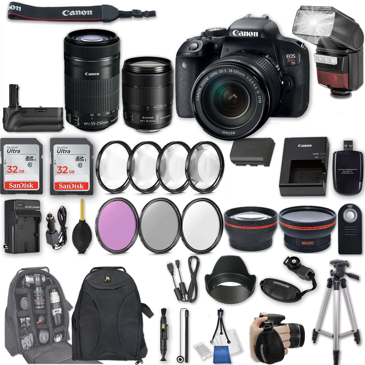 Canon EOS Rebel T7i DSLR Camera with EF-S 18-135mm f/3.5-5.6 IS STM Lens + EF-S 55-250mm f/4-5.6 IS STM Lens + Battery Grip + Automatic Flash + 64 GB Sandisk SD Memory + Filter & Macro Kits + More by Canon