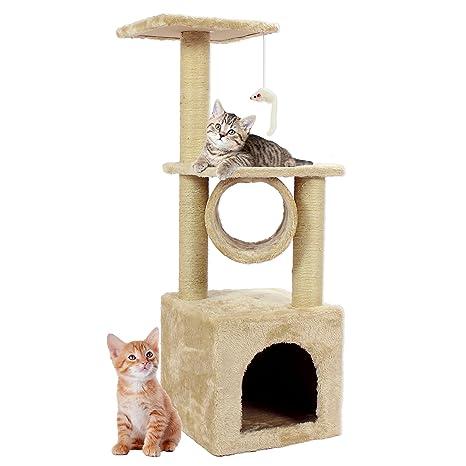 Cozy Pet Deluxe Árbol para Gato, 12 diseños, Disponible en Beige y Gris,