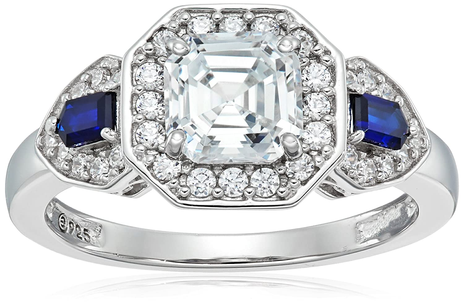 Platinum-Plated Sterling Silver Swarovski Zirconia Antique Asscher-Cut and Created Sapphire Ring Amazon Collection R1891206_120_050-Parent