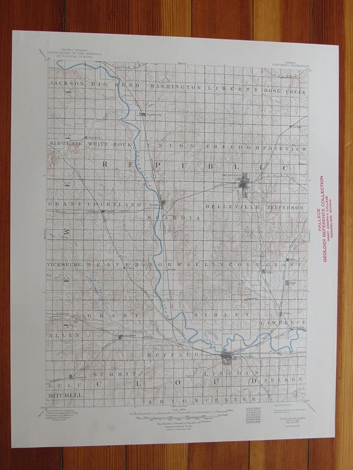 Concordia Kansas Map.Amazon Com Concordia Kansas 1949 Original Vintage Usgs Topo Map