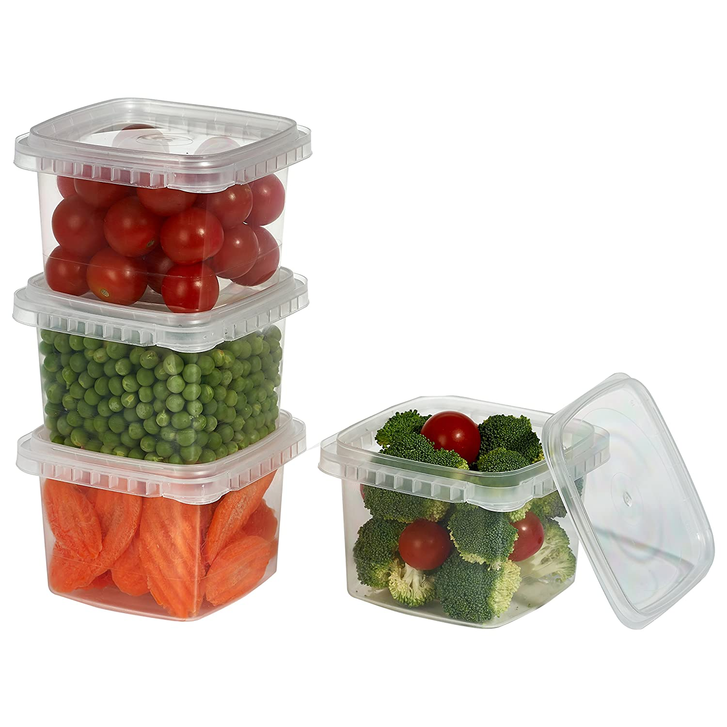 16 oz. Clear Deli Food Storage Containers With Lids Tamper evident security system and easy stackable and space saver shape Restaurant Take Out/Freezer microwave and dishwasher safe - 25 sets