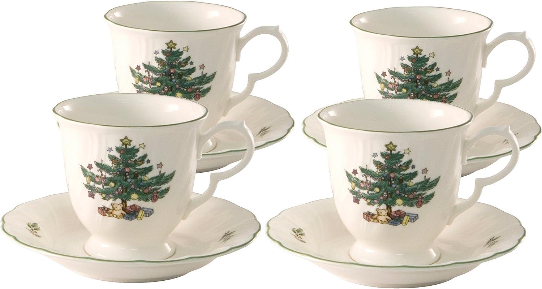 Nikko Happy Holidays Tall Tea Cup and Saucer, Satz of 4
