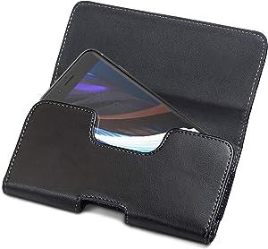 Encased 2020 iPhone SE Holster Belt Pouch - Secure Fit Case Holder Clip with Magnetic Closure PU Leather Belt Loops (Tough Case Compatible) for Apple iPhone 7/8/SE - Black