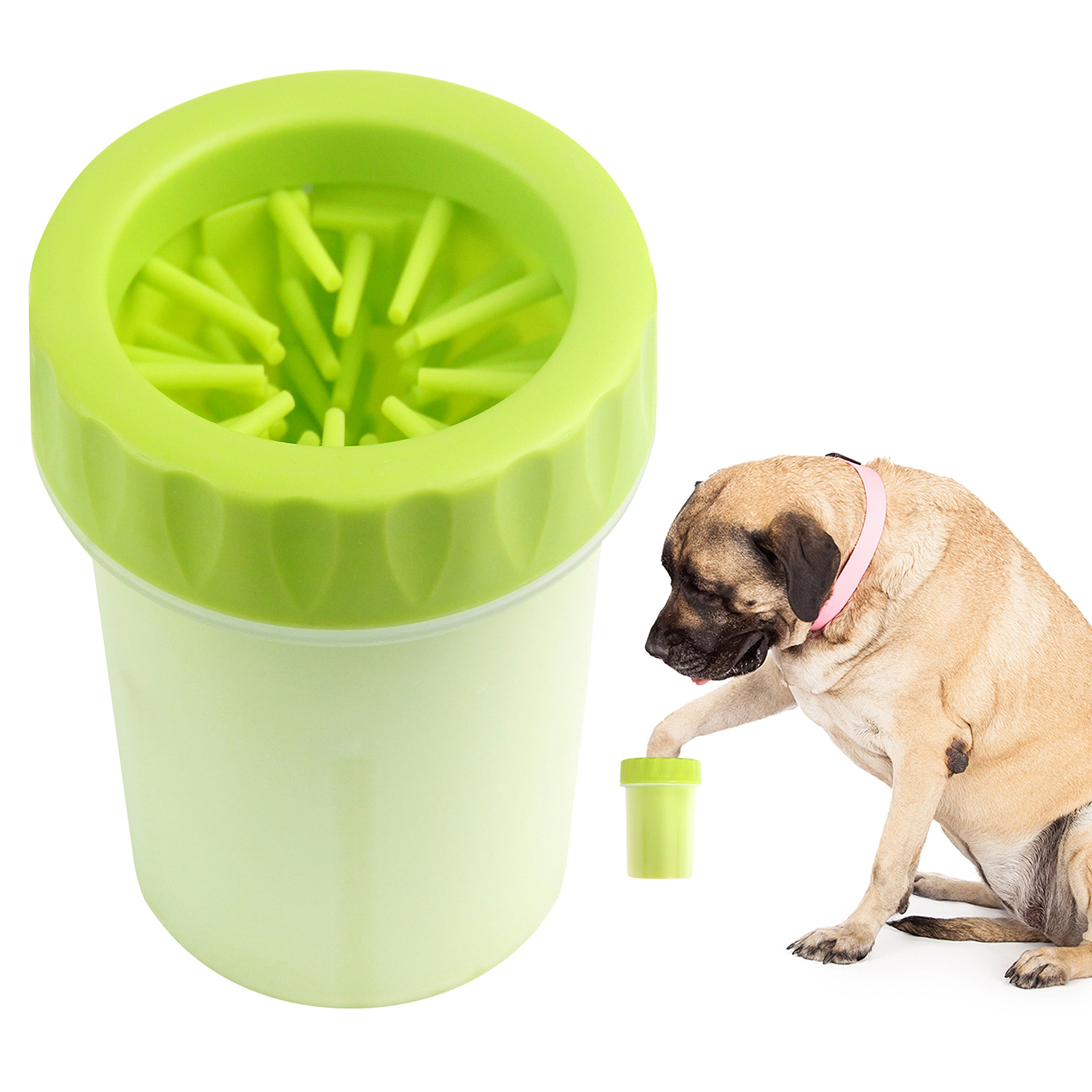 Paw Legend Portable Dog Paw Washer - Pet Paw Cleaner for Dogs,Cats Grooming with Muddy Paws - Comfortable Silicone Dog Feet Cleaner(Green, L)