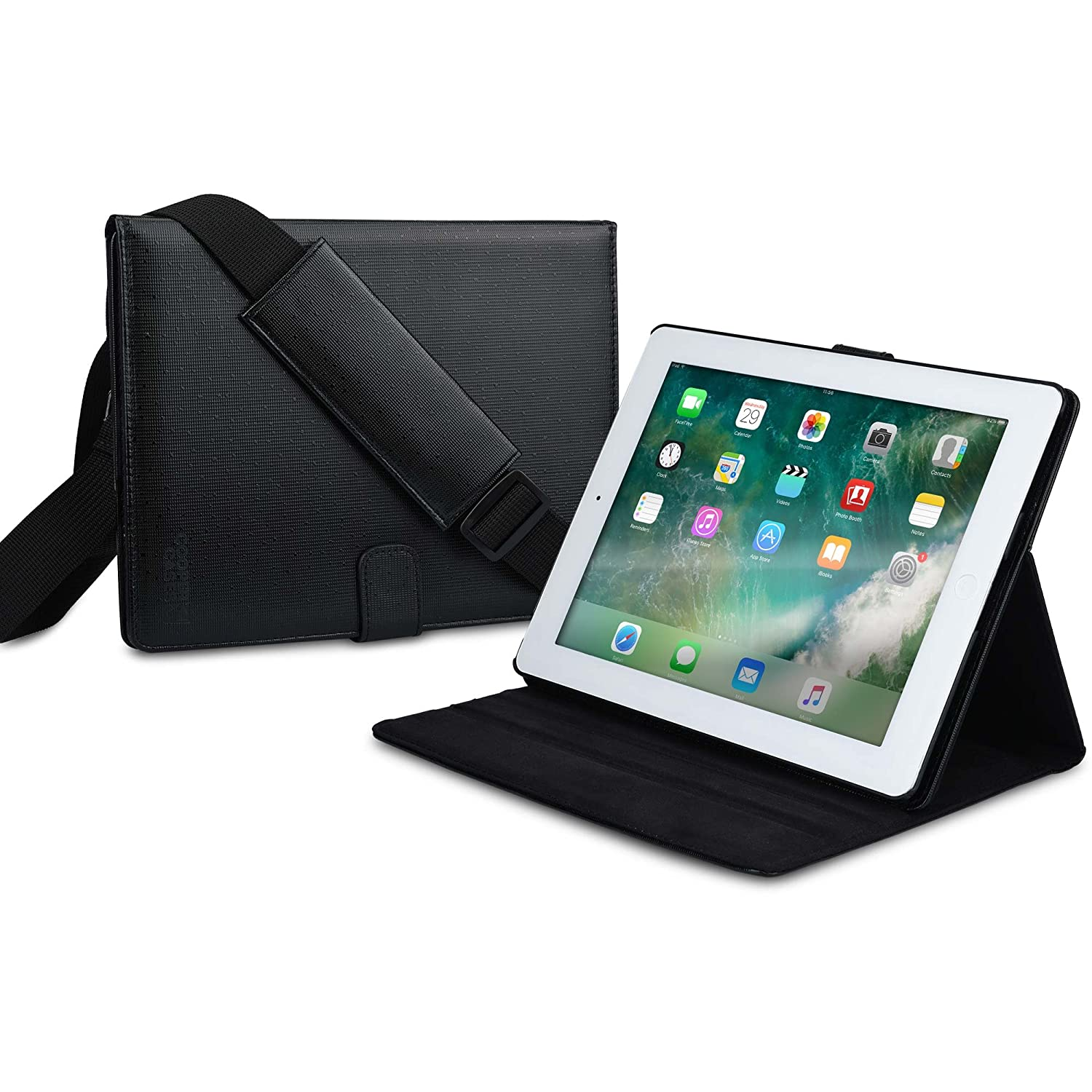 Cooper Magic Carry II Pro Case for iPad 4, iPad 3, iPad 2 | Protective Tablet Folio Cover, Carrying Case for Business School Restaurant Travel (Black)