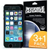 iPhone SE / 5S / 5 Screen Protector - Invisible Defender [4 Pack/MAX HD CLEARNESS] Perfect Touch Precision High Definition (HD) Clear Film (4-Pack) for Apple iPhone SE / 5S / 5