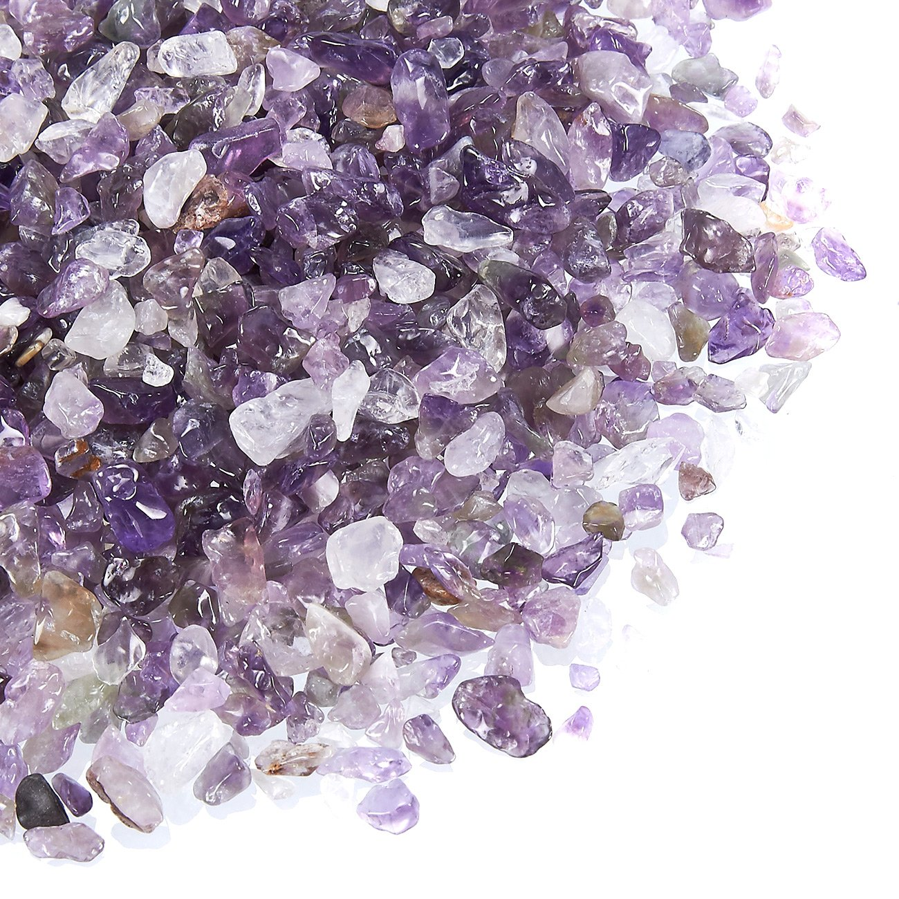 Natural Amethyst Crystal - Amethyst Tumbled Stone Chips, Crushed Crystal, Irregular Shaped Stones Healing Reiki, Jewelry Making, Home, Aquarium Decoration, 1 Pound