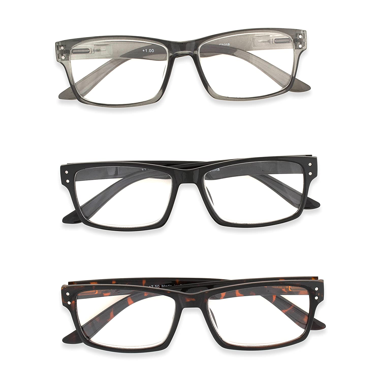 1150f94c13de Amazon.com: Inner Vision 3-Pack Reading Glasses Set w/Spring Hinges for Men  & Women - (1.25 x Magnification) - 3 Clear Lens Readers (Neutral Color  Variety): ...