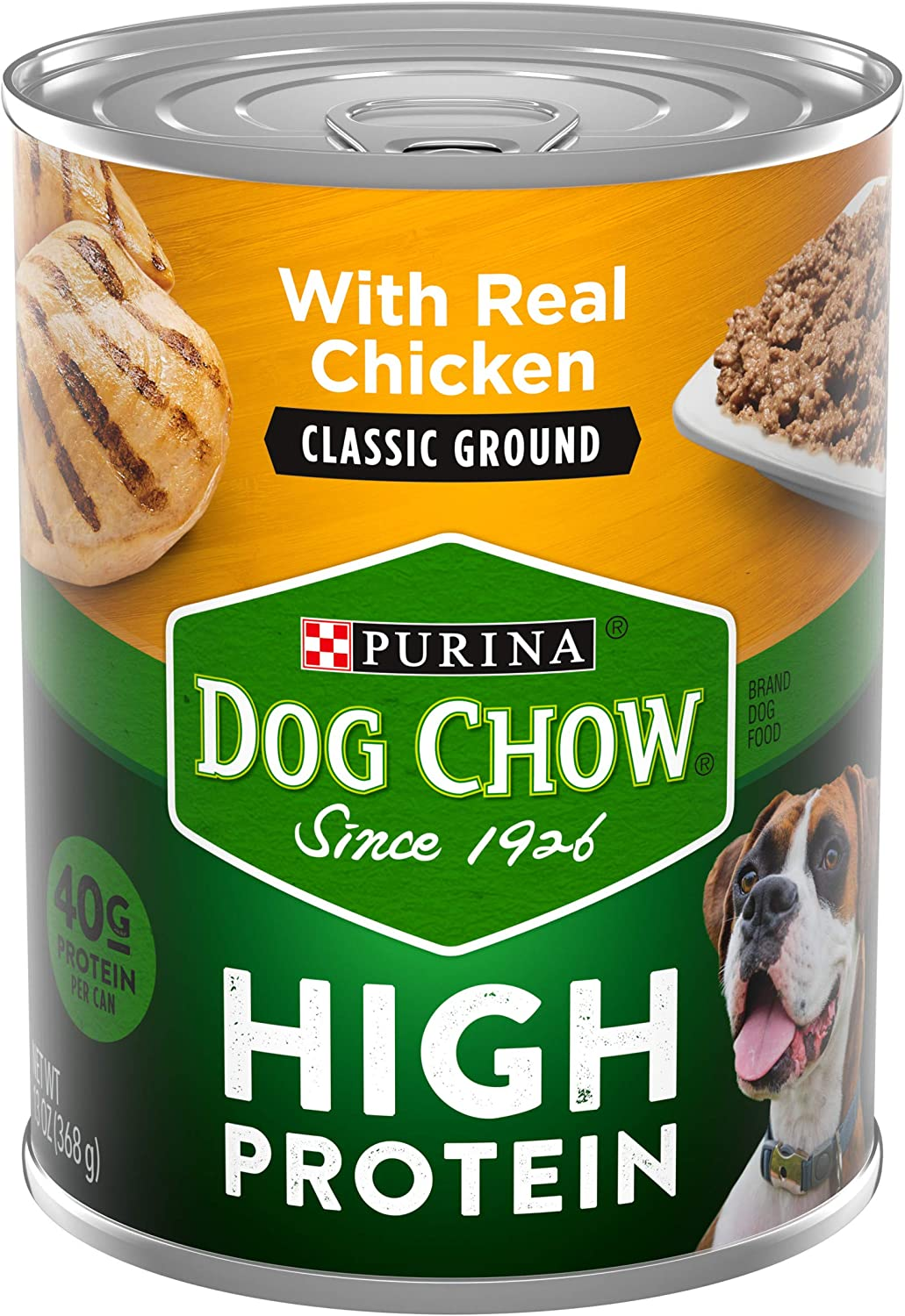 Purina Dog Chow High Protein Pate Wet Dog Food, High Protein With Real Chicken - (12) 13 oz. Cans