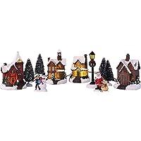 Bambelaa! Città di Natale, 11 pezzi. Winterdorf - Decorazione natalizia a 5 LED, luce bianca calda, per interni