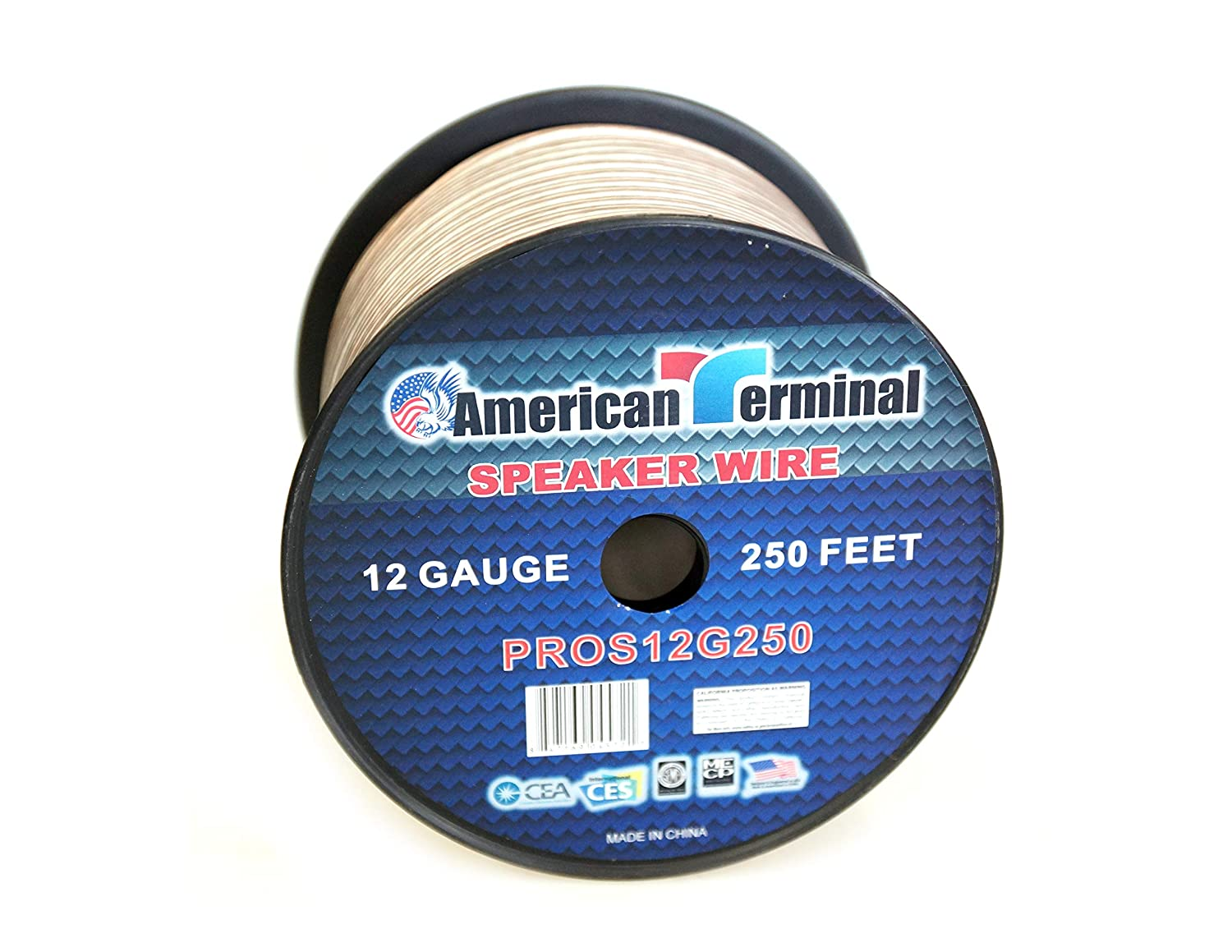 of 12 Gauge Pro Series Clear Speaker Wire American Terminal PROS12G250 250 ft