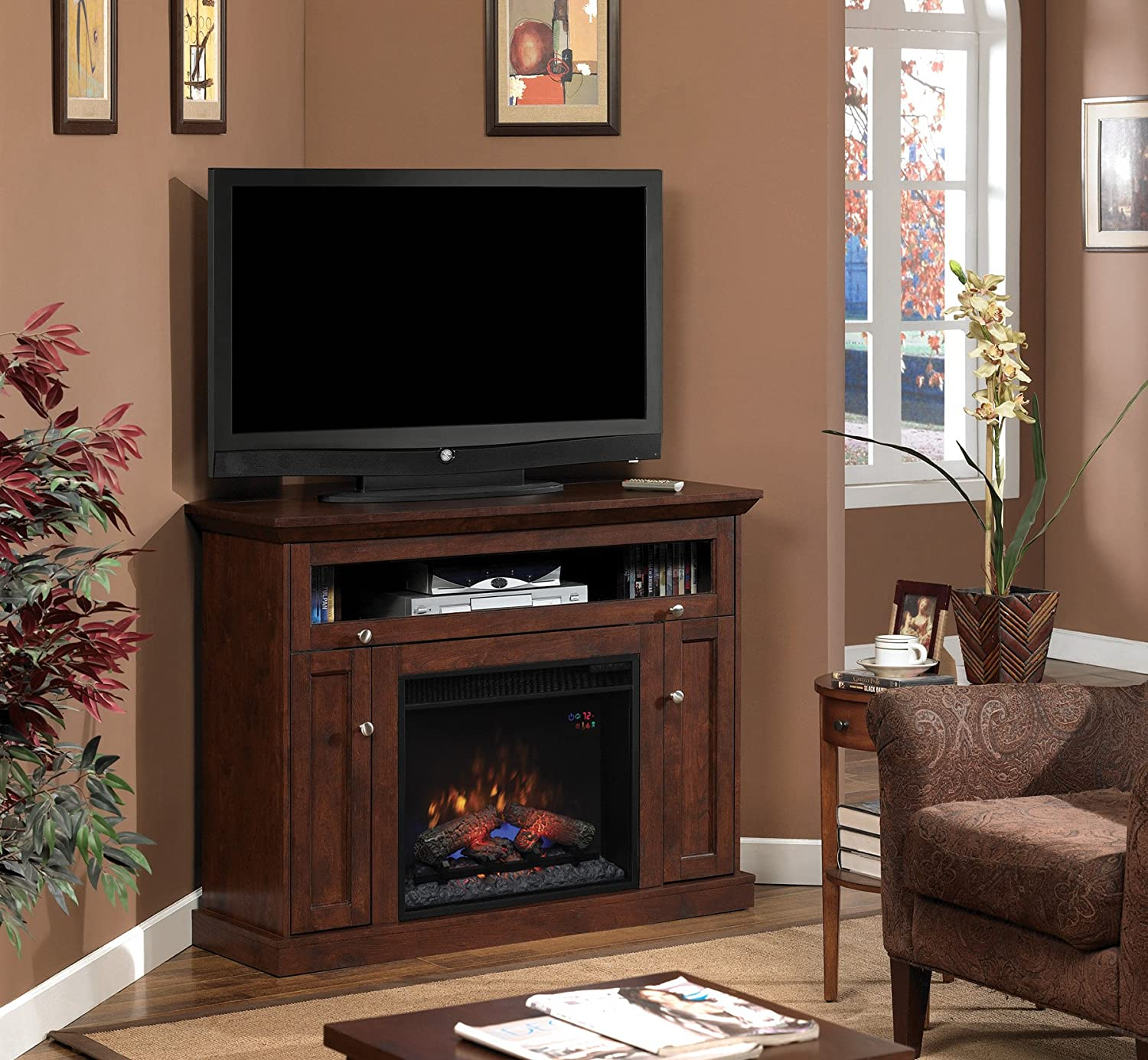 Amazon ClassicFlame 23DE9047 PC81 Windsor TV Stand For TVs Up To 45 Antique Cherry Electric Fireplace Insert Sold Separately Kitchen Dining
