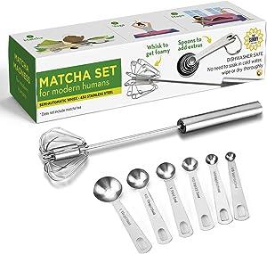 Matcha Set For Modern Humans: Matcha Whisk Set Blender + Matcha and Vitamin Supplements Measuring Spoons - Milk Frother, Matcha Mixer Stirrer, Versatile Kitchen Tools for Blending, Whisking, Beating