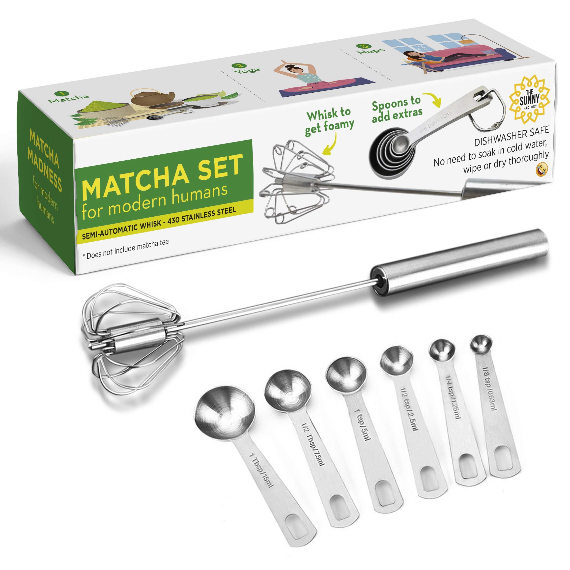 Matcha Set For Modern Humans - Hand Push Whisk Blender + Measuring Spoons - Versatile Tool for Milk Frother, Mixer Stirrer, Egg Beater - Kitchen Utensil for Blending, Whisking, Beating & Stirring