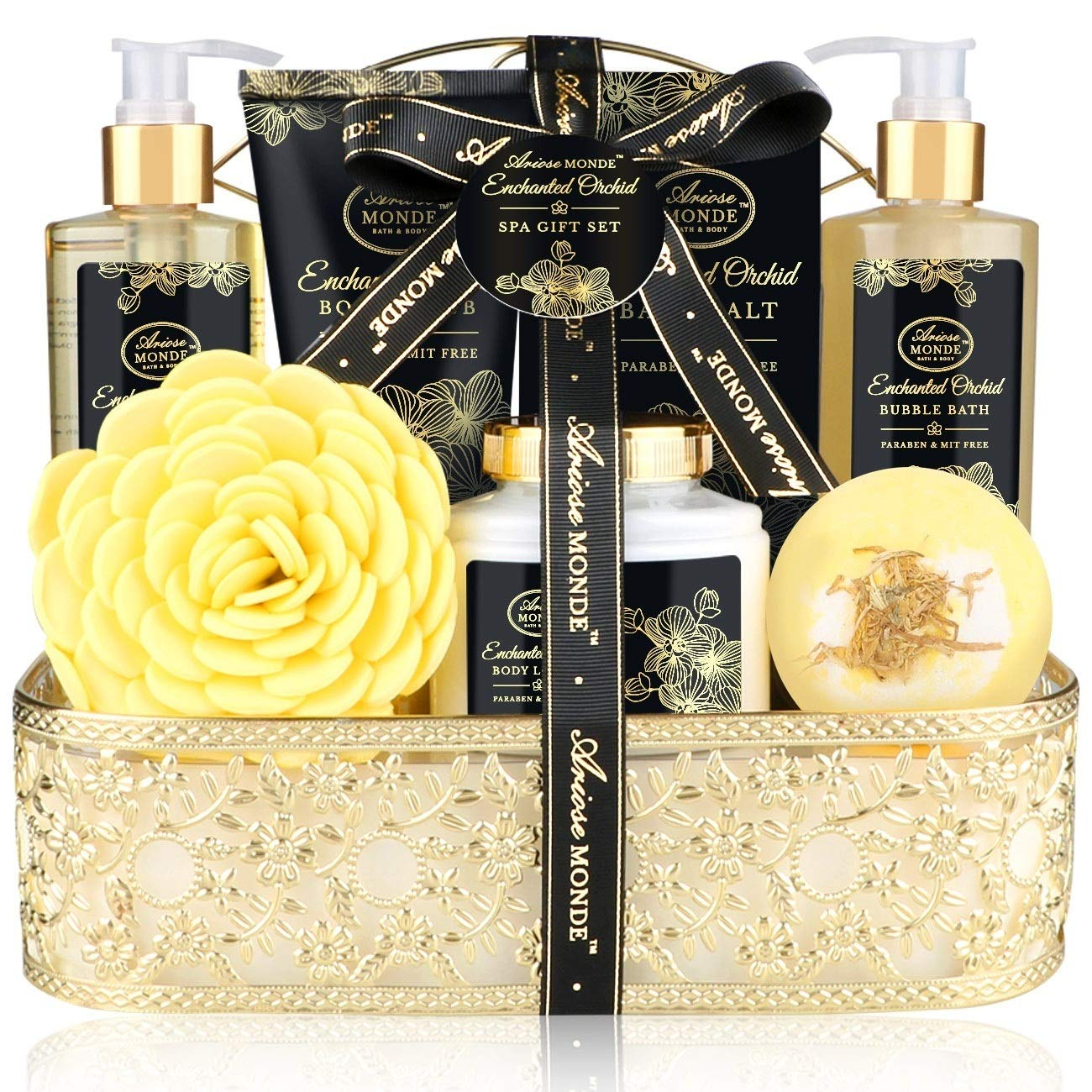 Gift Bath & Shower Spa Basket Gift Set, Enchanted Orchid Scent, with Shower Gel, Bubble Bath,Body Lotion,Body Scrub,Bath Bombs,Bath Salt and More, Bath and Body Gift Box for Women, 8Pcs