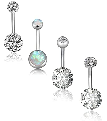 Amazon Com Revolia 4 5pcs 14g Stainless Steel Belly Button Rings